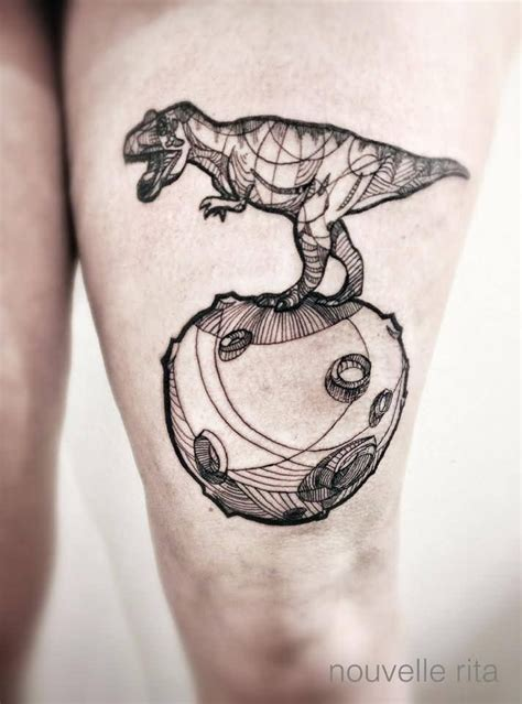 planet ink tattoos stunning black ink thigh of dinosaur and planet