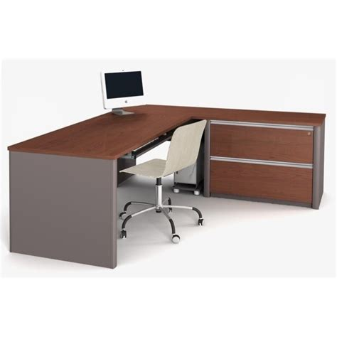 Assembled Office Desks Bestar Connexion L Shaped Workstation With 1 Assembled Oversized Pedestal In Bordeaux 93868 39