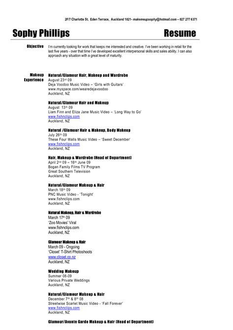 Sle Resume For Beginner Beginner Makeup Artist Resume Sle Makeup Vidalondon