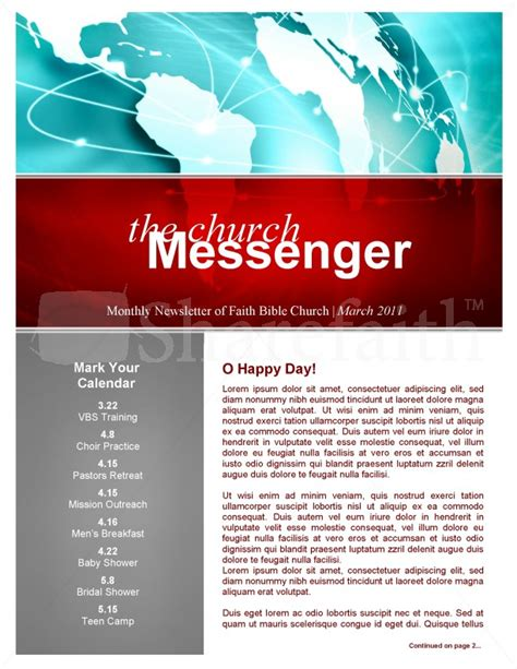 Missions Church Newsletter Template Christian Newsletter Templates