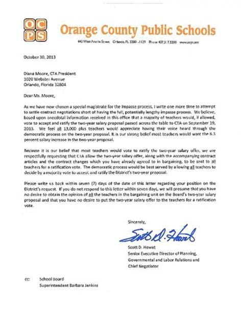 School Negotiation Letter Efforts To Avoid Impasse In Orange Failing Orlando Sentinel