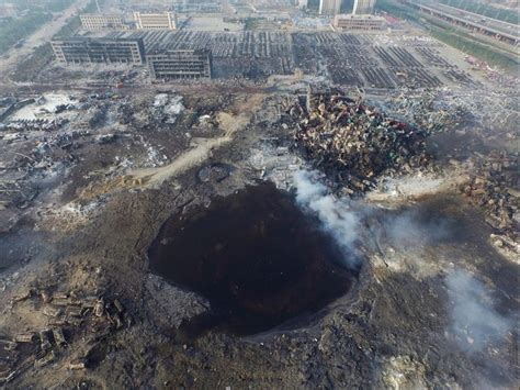 film of china explosion tianjin explosion gigantic crater left by chinese factory