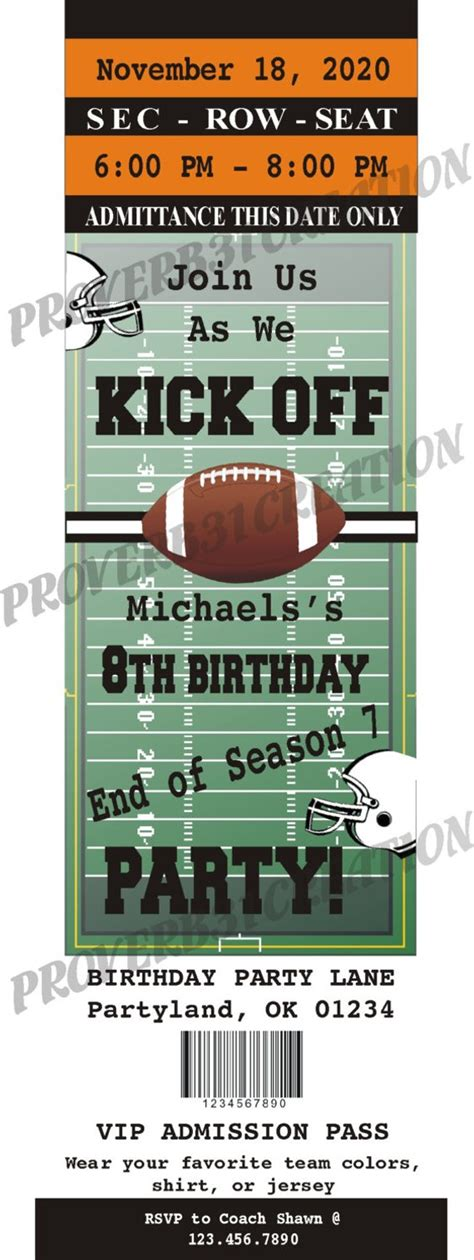 Items Similar To Printable Football Ticket Invitation Diy For Birthday Announcment Or Any Type Printable Football Ticket Template