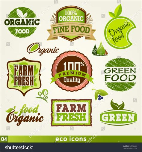 label graphic design organic farm fresh food labels vector stock vector