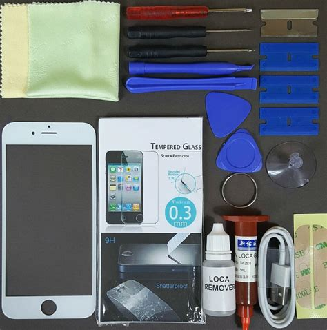 apple iphone  replacement screen front glass replacement repair kit white  ebay
