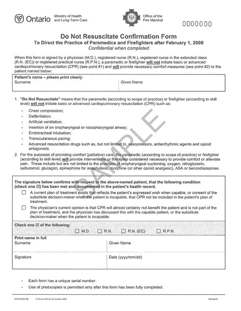 the ontario dnr confirmation form what your patients need