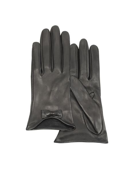 Forzieri Black Bow Taupe Satin And Leather Pumps by Forzieri Leather Gloves With Bow In Black Lyst