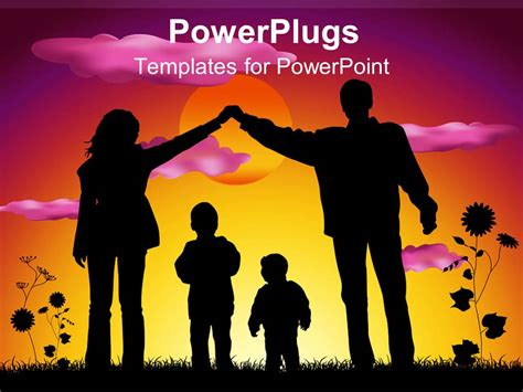 Powerpoint Template Mother And Father Making Heart Silhouette Over Two Children Sunset Family Powerpoint Templates
