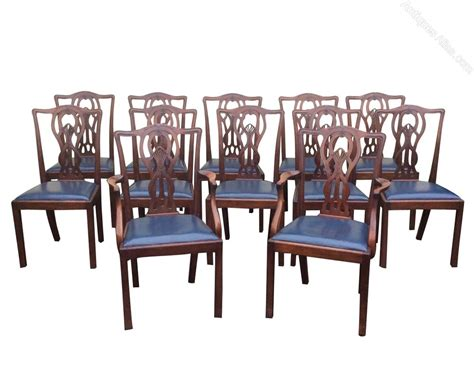 Antique Dining Room Furniture Set Of Twelve Antique Mahogany Dining Room Chairs Antiques Atlas