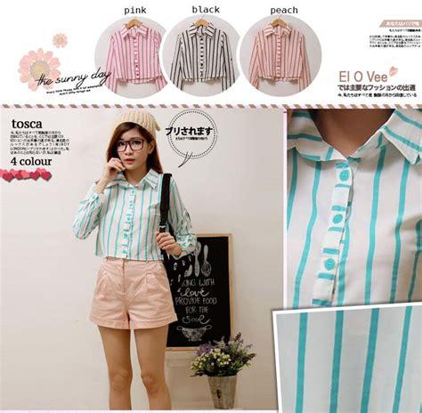 Pakaian Wanita Kaos Three Holes Stripe jual kemeja wanita stripe longsleeve crop shirt harga murah jakarta oleh pt elovee alyla