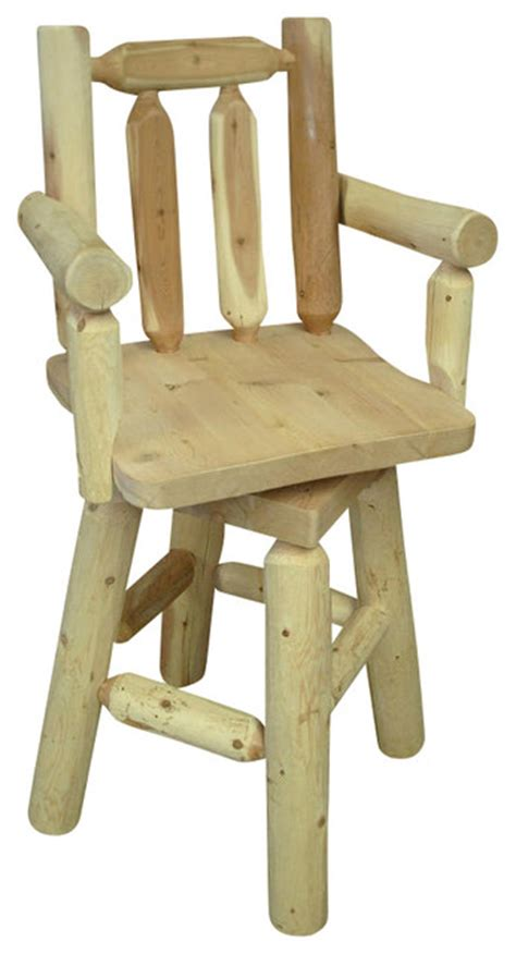 Outdoor Cedar Bar Stools by Rustic White Cedar Log Backed Bar Stool With Arms Rustic