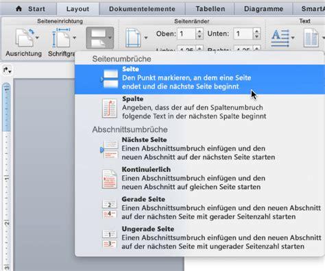 word layout umbruch hinzuf 252 gen oder l 246 schen einer seite in word f 252 r mac word