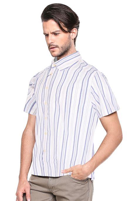 Kemeja Wanita Lengan Pendek Lgs O1129400 Putih regular fit kemeja formal putih biru garis variasi
