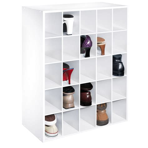 essential home 25 pair shoe organizer white home