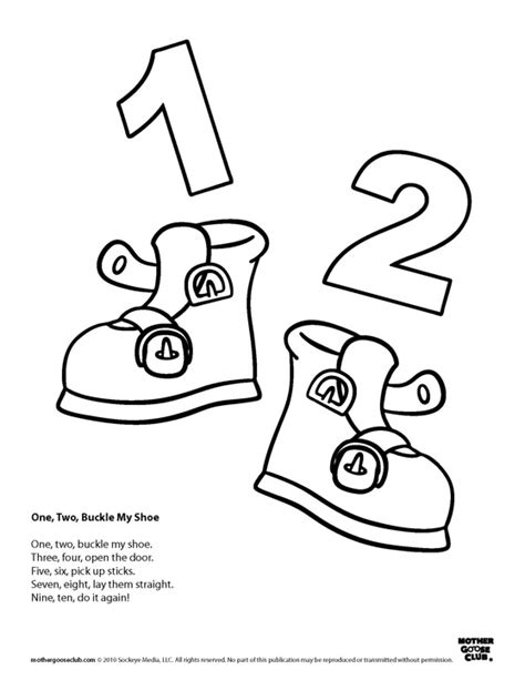 coloring pages one two buckle my shoe speakaboos