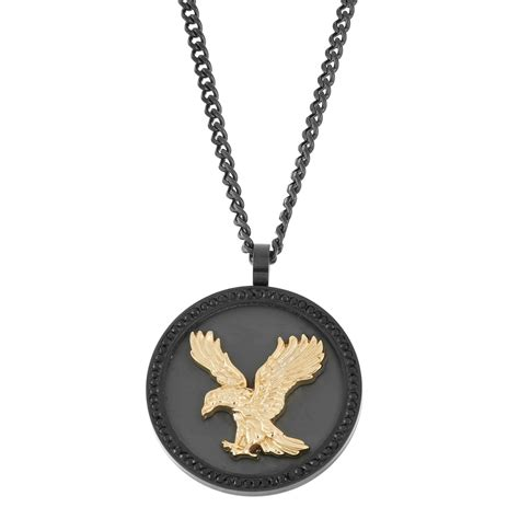stainless steel black and gold eagle pendant