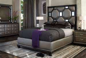 aico after eight black onyx upholstered bedroom set