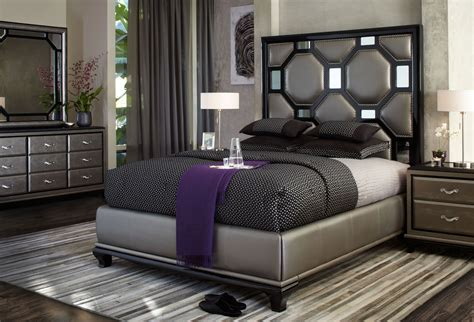 Upholstered Bedroom Furniture Aico After Eight Black Onyx Upholstered Bedroom Set