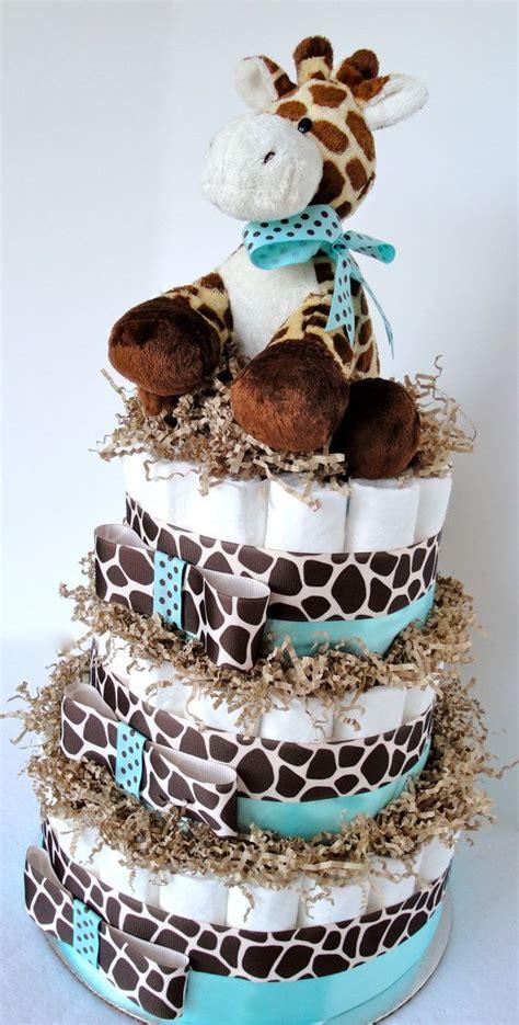 Giraffe Centerpieces For Baby Shower by Cake Giraffe Theme Blue Brown Baby Boy Shower