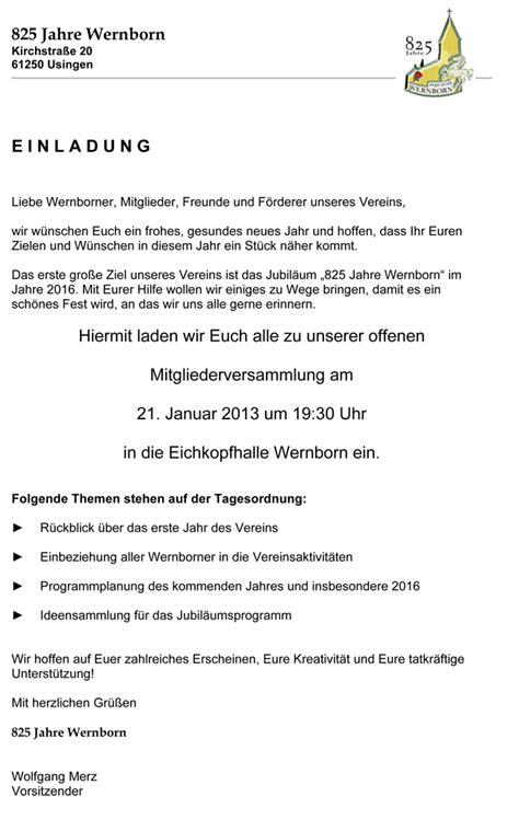 Musterbrief Einladung B Rgermeister einladung jubil 228 um verein biblesuite co