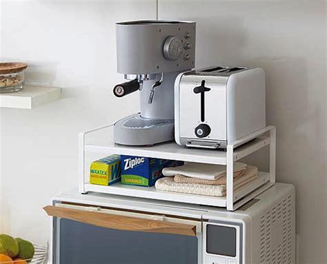 microwave top shelving unit  white yamazaki