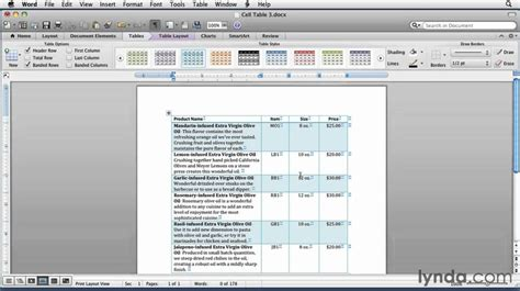 Microsoft Word How To Format Tables Lynda Com Tutorial Youtube Microsoft Table Templates