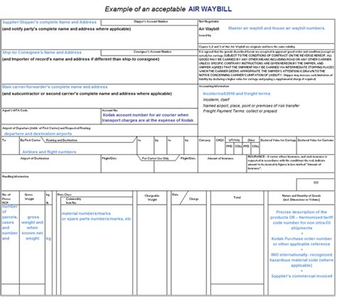 4 air waybill template report exle
