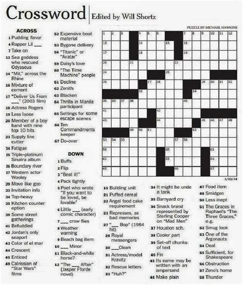 printable version of la times crossword the new york times crossword in gothic 01 23 14 block