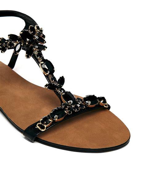 black sandals flat dune khloe gem embellished black flat sandals in black lyst