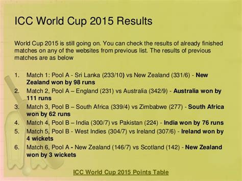 world cup result today icc cricket world cup 2015 preview