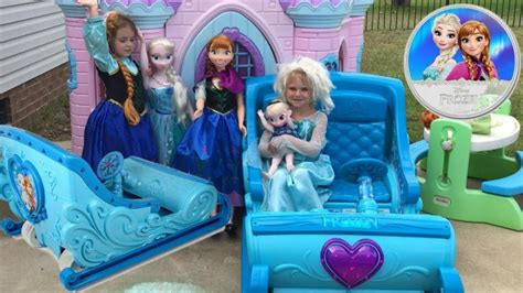 frozen power wheels sleigh disney frozen sleigh ride on princess castle egg hunt