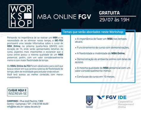 Mba ã Rcio Exterior Sp by Workshop Quot Mba Fgv Quot Ibe Conveniada Fgv