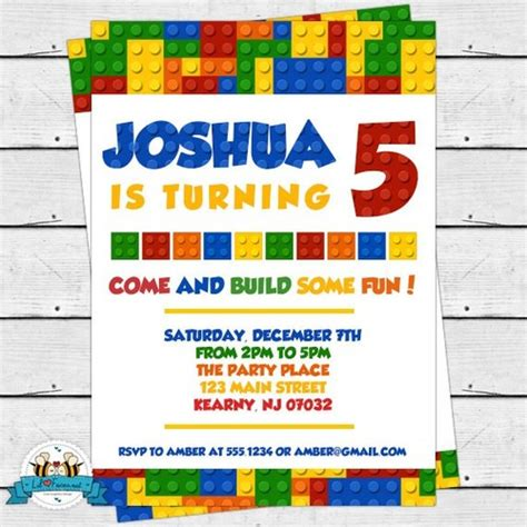 printable lego invitation cards colorful blocks birthday party invitation lego