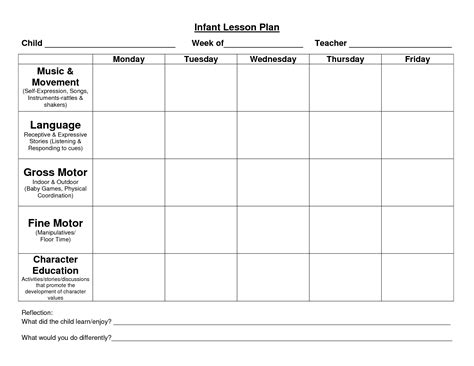 Infant Blank Lesson Plan Sheets Provider Sle Lesson Plan Template Lesson Plan Forms Daycare Program Plan Template
