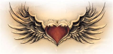 winged heart tattoo designs winged design with a locket in the middle