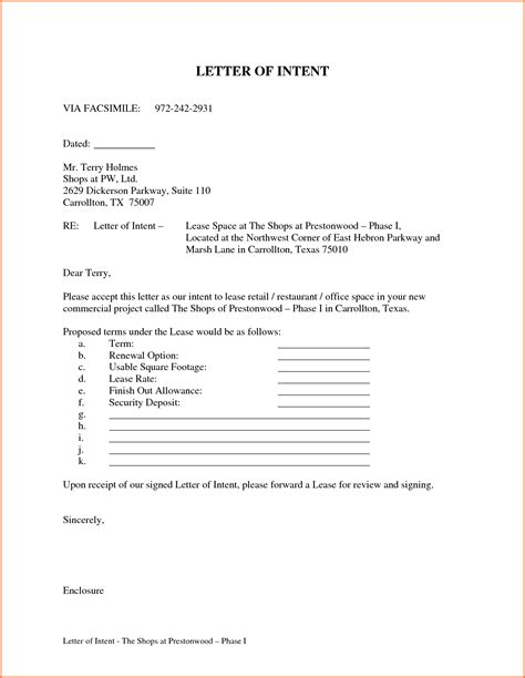 Letter Of Intent To Rent