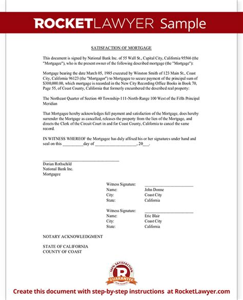 Loan Release Letter Format Satisfaction Of Mortgage Form Release Of Mortgage Rocket Lawyer