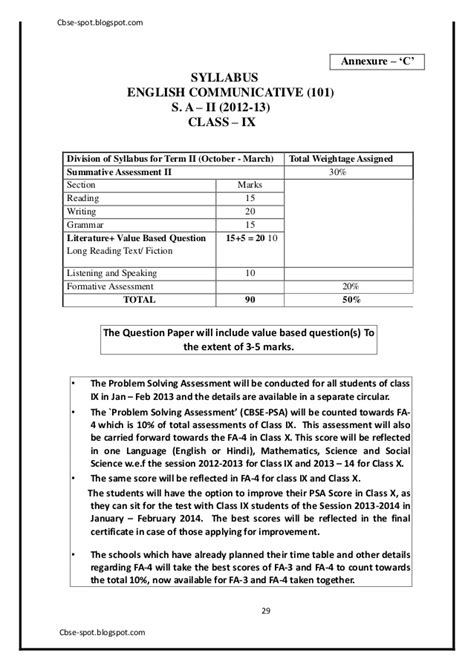 email format cbse for class 9 9th sa2 cbse english sle paper