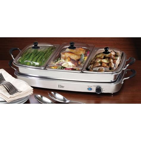 elite 174 triple deluxe buffet server and warming tray