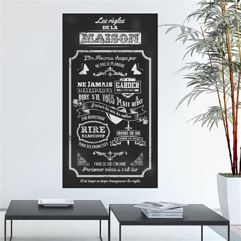 Poster Stickers sticker poster les r 232 gles de la maison style ardoise