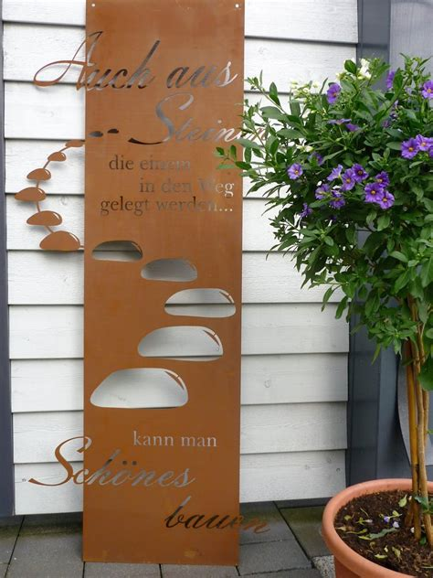 rost deko garten willkommen spruchtafel steiniger weg garten schild metall rost deko