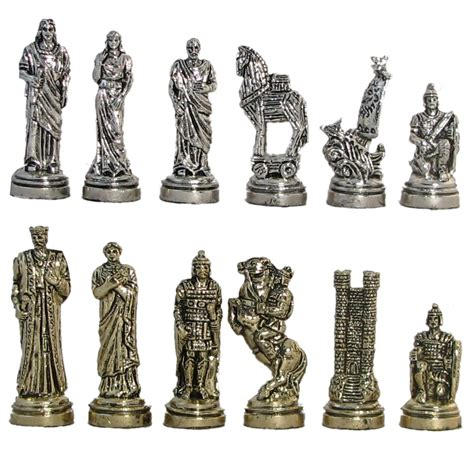 Tunik Set 2 In 1 2 3 4 quot trojan war metal chess pieces