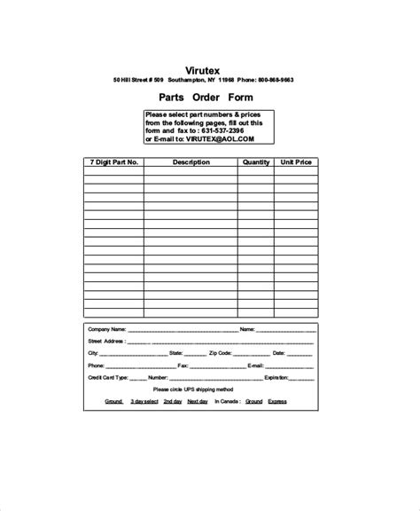 sample parts order form  examples  word