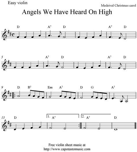 printable christmas violin sheet music free free sheet music scores angels we have heard on high