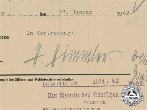 Ss Signature promotion document w signature of ss reichsf 252 hrer heinrich himmler third reich