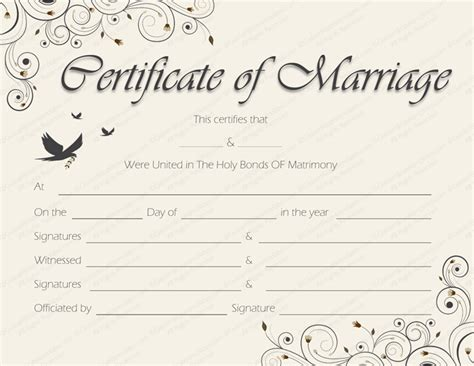 free wedding certificate template printable marriage certificate templates 10 editable