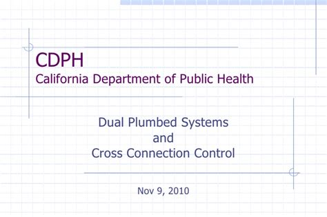 Combined Mph Mba Programs California by Dual Plumbed Systems And Cross Connection