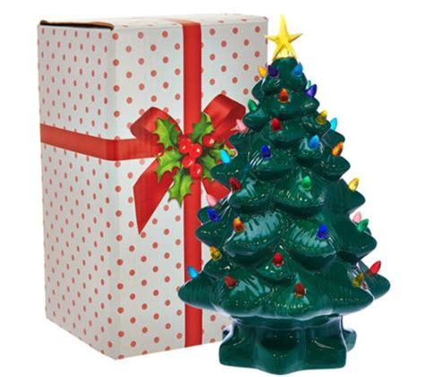 tabletop christmas tree with led lights mr 14 quot nostalgic tabletop tree w bright led lights page 1 qvc