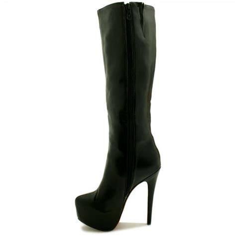 black knee high heels pheobe stiletto heel concealed platform knee high boots