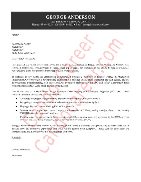 Cover Letter For Mechanical Engineer by Mechanical Engineer Cover Letter Sle 187 Cando Career